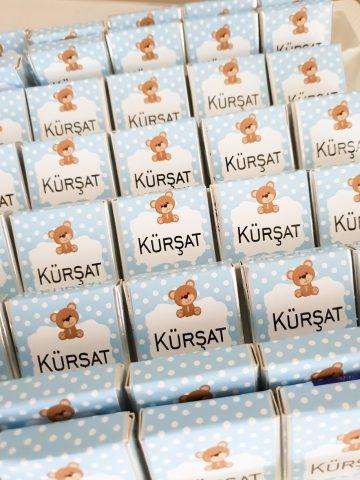 Ayıcık Baskılı Çikolata - Papis Baby - Hastane Odası Süsleme - Doğum Organizasyonu