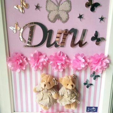 Ayıcıklı Kelebekli Kapı Süsü - Papis Baby - Hastane Odası Süsleme - Doğum Organizasyonu