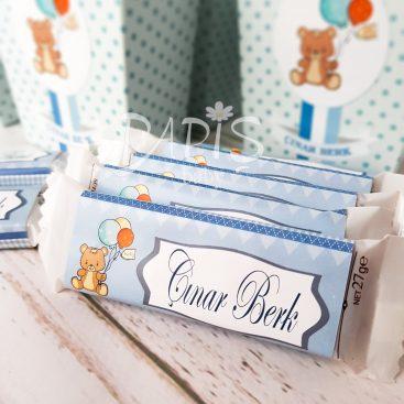 Balonlu Ayıcıklı Çikolata - Papis Baby - Hastane Odası Süsleme - Doğum Organizasyonu