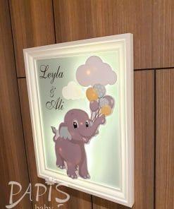 Işıklı Fil Kapı Süsü - Papis Baby - Hastane Odası Süsleme - Doğum Organizasyonu