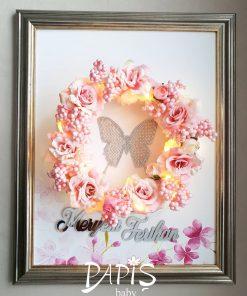 Işıklı Flower Kapı Süsü- Papis Baby - Hastane Odası Süsleme - Doğum Organizasyonu