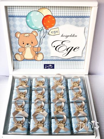 Tasarımlı Çikolata Kutusu - Papis Baby - Hastane Odası Süsleme - Doğum Organizasyonu