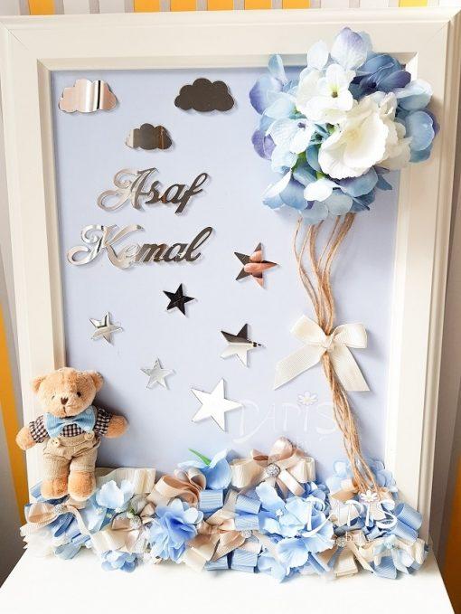 Uçan Balon Çiçek Kapı Süsü - Papis Baby - Hastane Odası Süsleme - Doğum Organizasyonu